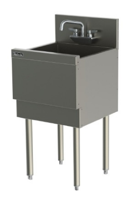 Perlick TS181CA 18-in Extra Capacity Underbar Sink w/ Faucets & Legs, Stainless