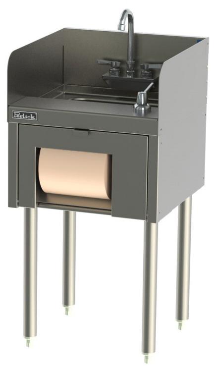 Perlick TS18HST 18-in Underbar Hand Sink w/ Soap & Towel Dispenser, Legs, Stainless