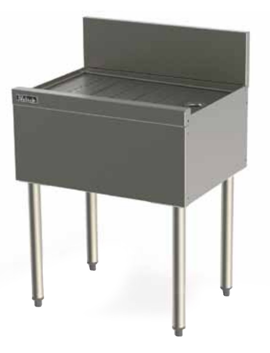 Perlick TS24 24-in Underbar Drainboard w/ Embossed Top, Stainless