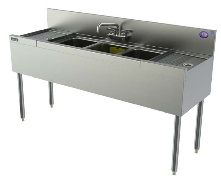 Perlick TS63C 84-in Underbar Sink w/ 3-Compartments & 2-Drainboards, Stainless