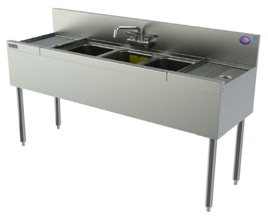 Perlick TSD44C 48-in Underbar 4-Compartment Sink Unit w/ Backsplash, Stainless