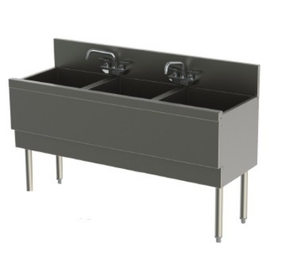 Perlick TS543CA 54-in Underbar Sink w/ 3-Compartments, Stainless