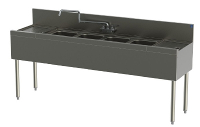 Perlick TS64C 72-in Underbar Sink w/ 4-Compartments & 2-Drainboards, Stainless