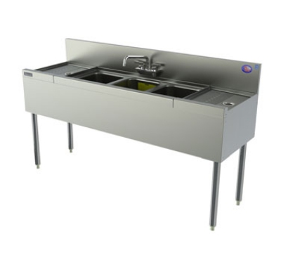 Perlick TS73C 96-in Underbar Sink w/ 3-Compartments & 2-Drainboards, Legs