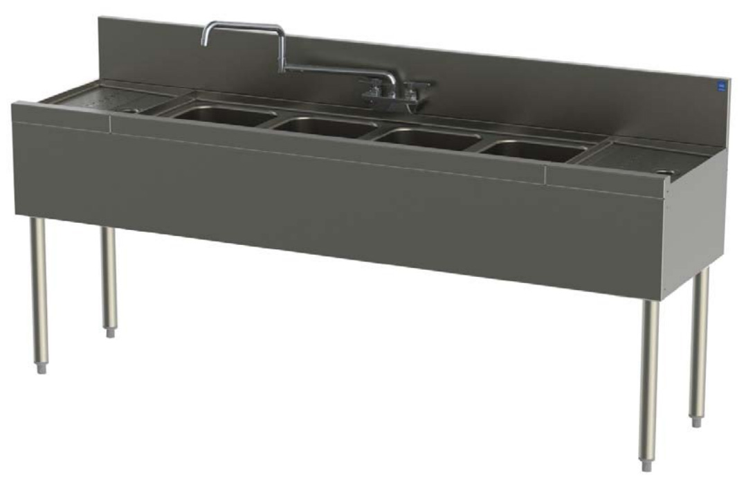 Perlick TS74C 84-in Underbar Sink w/ 4-Compartments & 2-Drainboards, Stainless