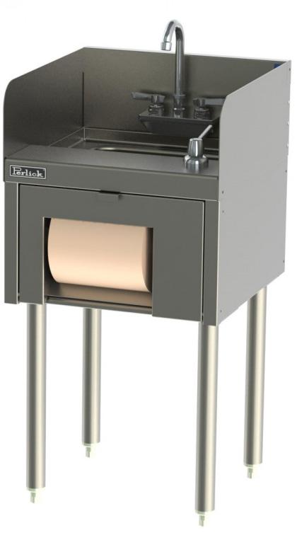Perlick TSD18HST 18-in Underbar Hand Sink w/ Towel & Soap Dispenser, Stainless