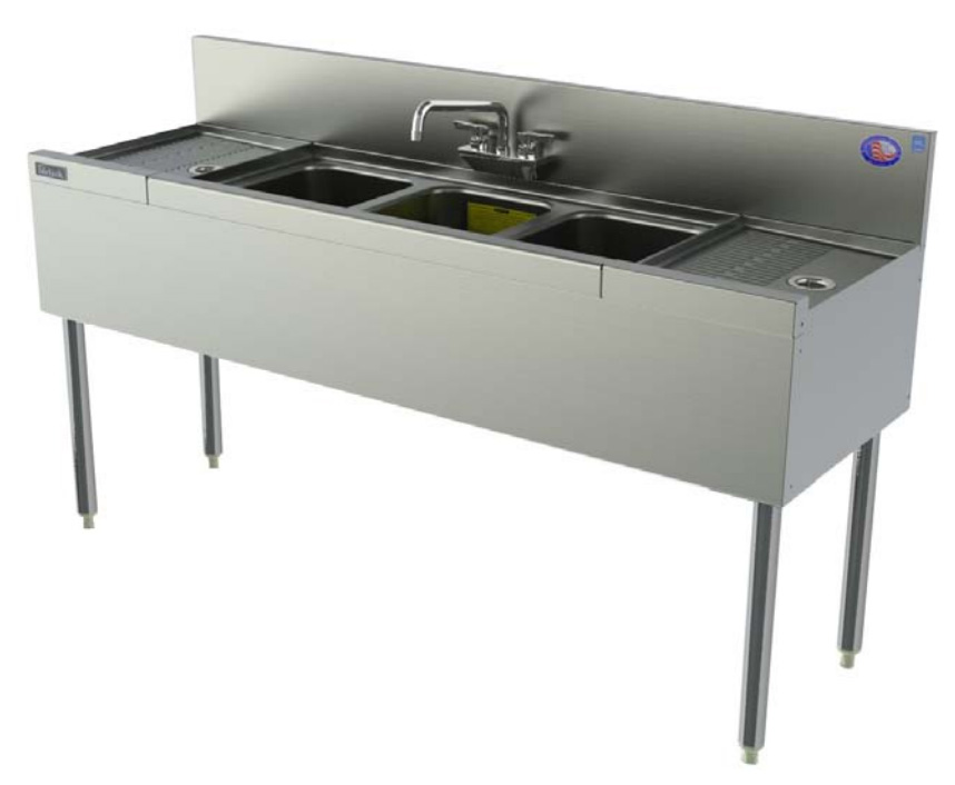 Perlick TSD43R 48-in Underbar 3-Compartment Sink Unit w/ 12-in Right Drainboard