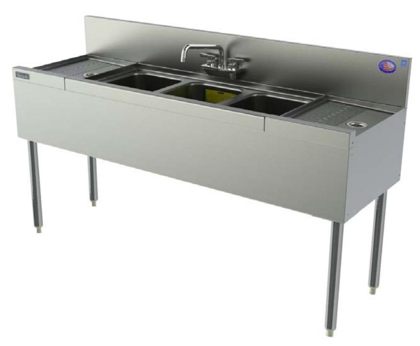 Perlick TSD53C 60-in Underbar 3-Compartment Sink Unit w/ (2) 12-in Drainboard