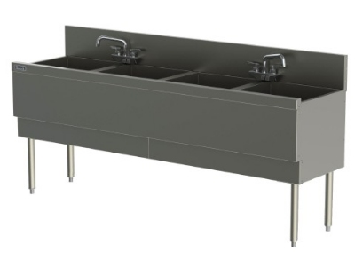 Perlick TSD724CA 72-in Underbar Sink w/ 4-Compartments & Extra Capacity, Stainless