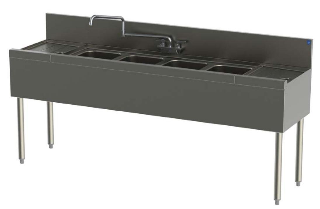 Perlick TSD84C 96-in Underbar 4-Compartment Sink Unit w/ (2) 24-in Drainboards