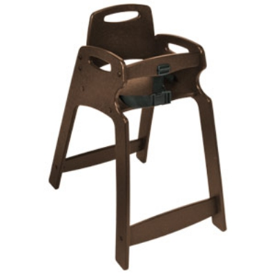 CSL Foodservice & Hospitality 333-BRN Lightweight Recycled Plastic High Chair, Assembled, Brown