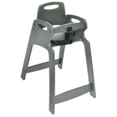 CSL Foodservice & Hospitality 333-GRY-KD Lightweight Recycled Plastic High Chair, Assembly Required, Gray