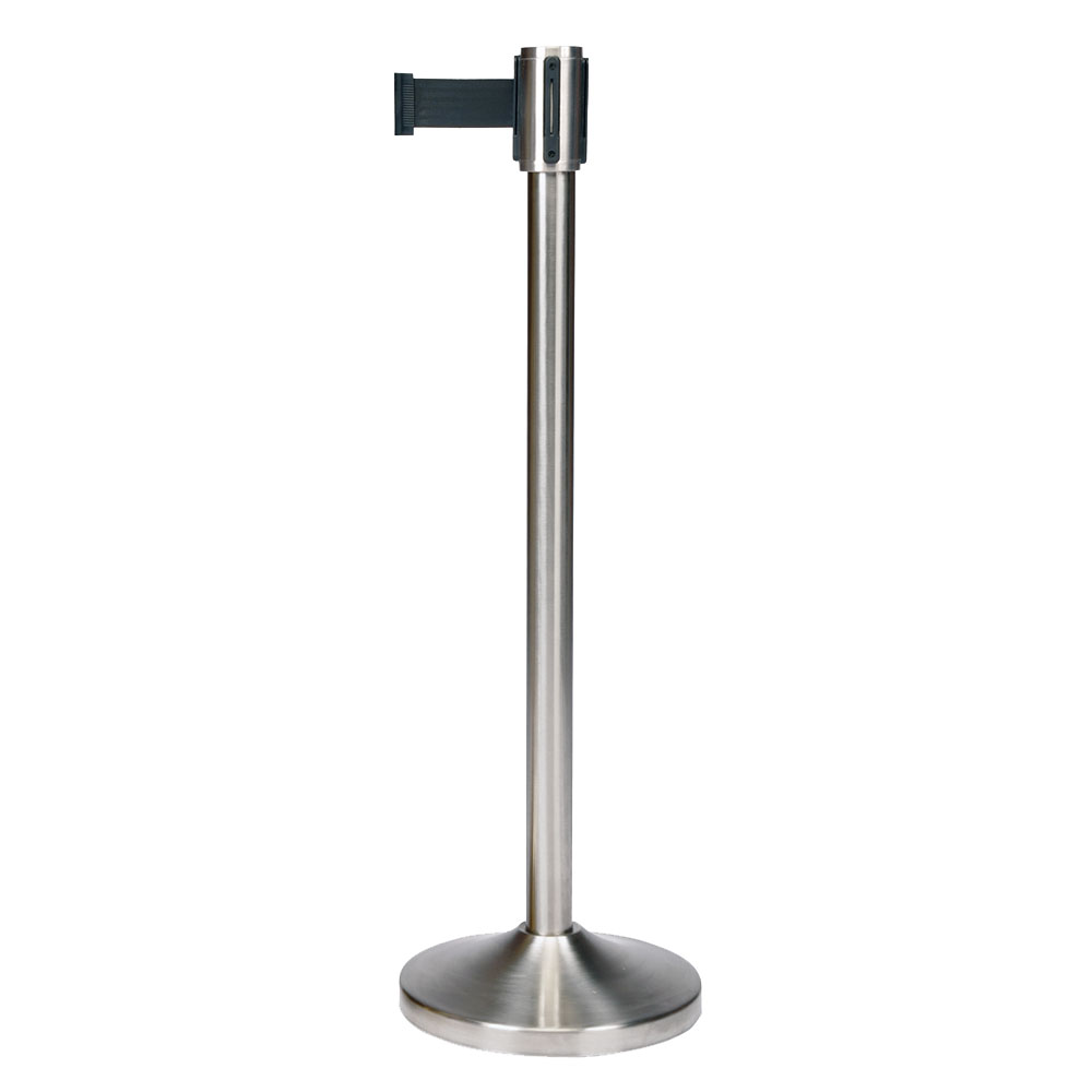CSL Foodservice & Hospitality 5500SS-BLK 39-in Portable Crowd Control Stanchion, Brushed Stainless