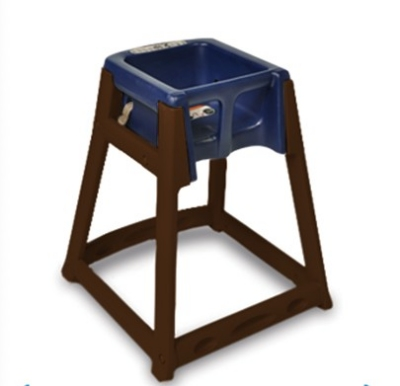 CSL Foodservice & Hospitality 866C-BLU High Chair Infant Seat w/ Blue Seat, Casters, Dark Brown Frame