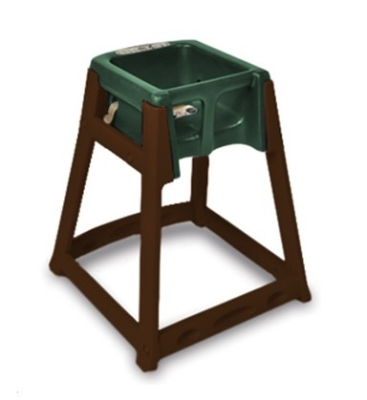 CSL Foodservice & Hospitality 866GRN High Chair Infant Seat w/ Green Seat, Dark Brown Frame