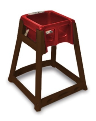 CSL Foodservice & Hospitality 866C-RED High Chair Infant Seat w/ Red Seat, Casters, Dark Brown Frame