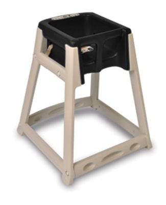 CSL Foodservice & Hospitality 888BLK High Chair Infant Seat w/ Black Seat, Beige Frame