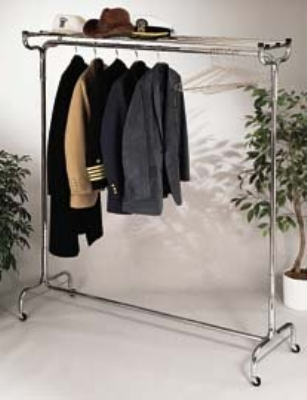 CSL Foodservice & Hospitality 1075-48P 48-in Portable Valet w/ Hat Rack, 12-Perma-Hangers, Chrome