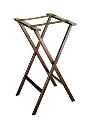 CSL Foodservice & Hospitality 1270 Economy Wooden Tray Stand w/ Brown Straps, Dark Walnut