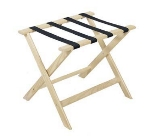 CSL Foodservice & Hospitality 177WW-1 Luggage Rack w/ Navy Blue Straps, Deluxe Wooden,