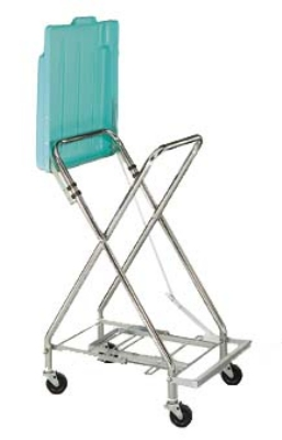 CSL Foodservice & Hospitality 5055 Adjustable Laundry Bag Stand w/ Self Closing Plastic Cover
