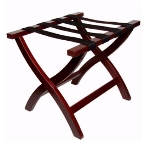 CSL Foodservice & Hospitality 77MAH-1 Premiere Luggage Rack w/ Black Straps, Wooden, Mahogany