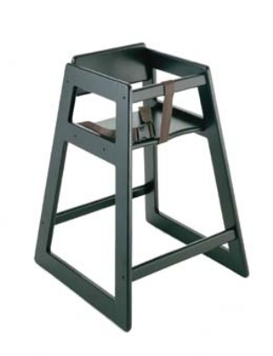 CSL Foodservice & Hospitality 803BL Deluxe Wooden Stackable High Chair, Black