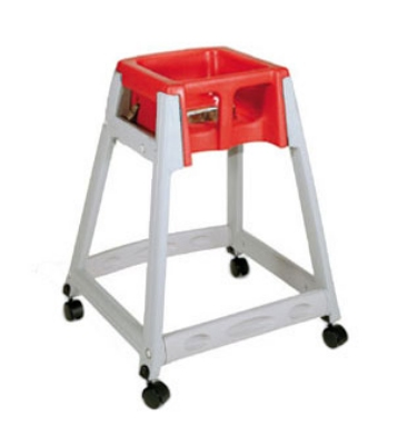 CSL Foodservice & Hospitality 877C-RED High Chair Infant Seat w/ Red Seat, Casters, Gray Frame