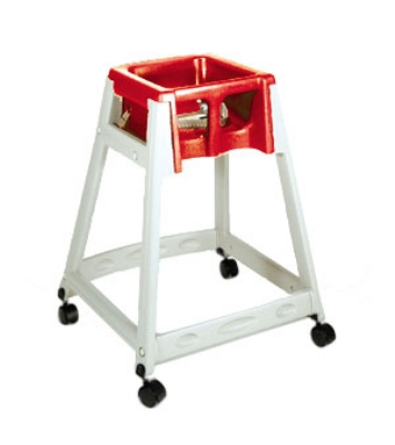 CSL Foodservice & Hospitality 888C-RED High Chair Infant Seat w/ Red Seat, Casters, Beige Frame
