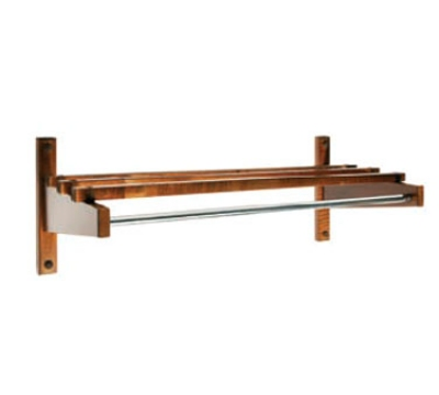 CSL Foodservice & Hospitality TEC36W 36-in Economy Wooden Coat Rack w/ Hanging Rod, Walnut