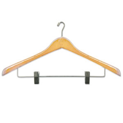 CSL Foodservice & Hospitality THA-66 Ladies Executive Suit Hanger w/ Mini Hook, Natural Fi
