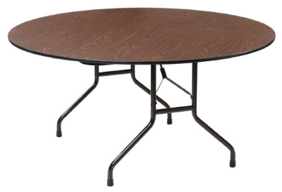 Royal Industries CORBT60R Folding Round Banquet Table, 60-in Diam., Walnut Finish