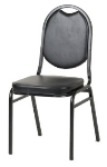 Royal Industries ROY 719 B Round Back Stack Chair w/ Steel Frame & Black Vinyl Upholstery