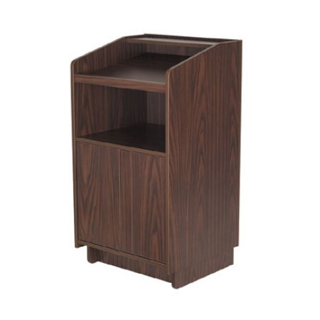 Royal Industries ROY 734 W 46-in Assembled Podium w/ Casters & Walnut Melamine Finis