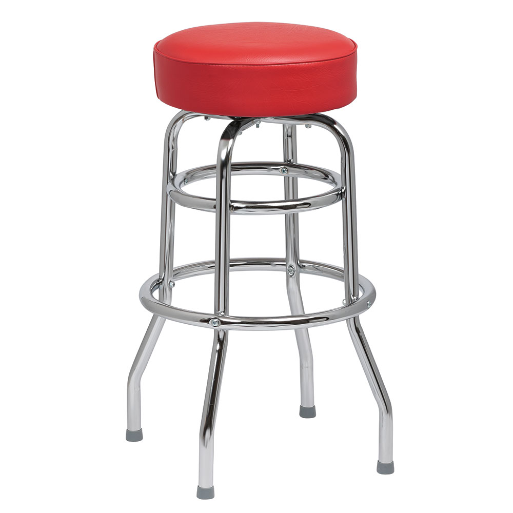 Royal Industries ROY 7712-2 R Assembled Double Ring Bar Stool w/ Chrome Frame & Red Seat