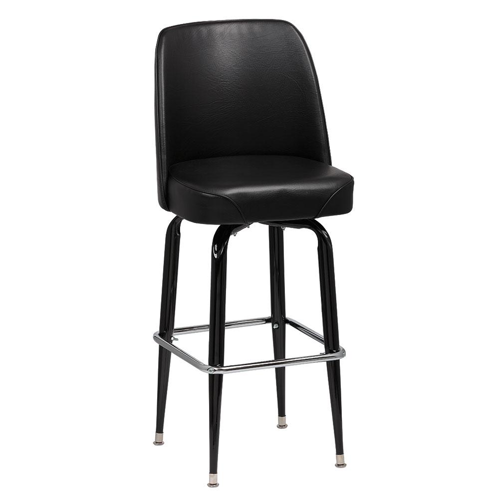 Royal Industries ROY 7714-1 B Assembled Black Square Frame Barstool w/ Black Vinyl Bucket Seat