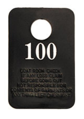 Royal Industries ROY CRC 1-100 Black Plastic Coat Check w/ White Print, Numbered 1 To 100