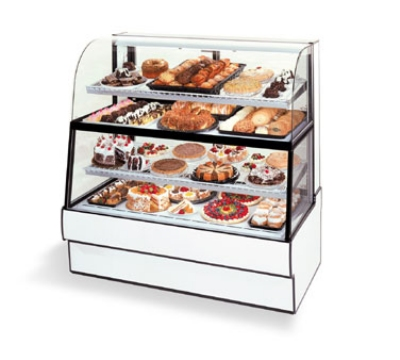 Federal Industries CGR3660DZH WA 36-in Dual Zone Curved Glass Bakery Case w/ Rear Doors, Walnut