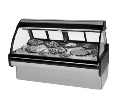Federal Industries MCG-1054-DF NO 122-in Curved Glass Refrigerated Seafood & Fish Case, Natural Oak