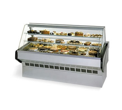 Federal Industries SQ-3B NO 36-in Curved Bakery Case w/ 2-Step Deck Display Riser, Natural Oak
