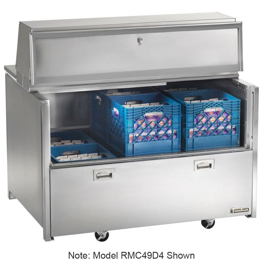 Traulsen RMC34D6 115V 8-Crate Milk Cooler w/ Floor Drain - Side Lift Doors, 115v