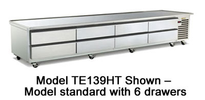 Traulsen TE110HT 115 110-in Refrigerated Equipment Stand w/ 6-Drawers, 115 V
