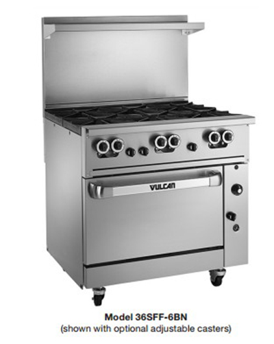 "Vulcan-Hart 36CFF-6BP 36"" 6-Burner Gas Range, LP"