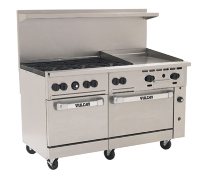 "Vulcan-Hart 60SS6B24G 60"" 6-Burner Gas Range with Griddle, LP"