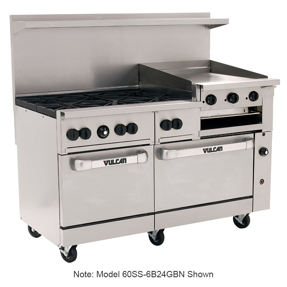 "Vulcan-Hart 60SS6B24GB 60"" 6-Burner Gas Range with Griddle-broiler, NG"