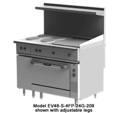 "Vulcan-Hart EV48-S-4FP24G240 1 48"" 4-Sealed Element Electric Range with Griddle, 240/1v"