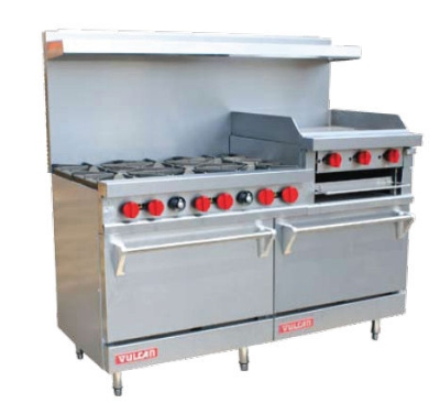 Vulcan-Hart V260 NG 60-in Value Range, 6-Burner, 24-in Griddle/Broiler, 2-Standard