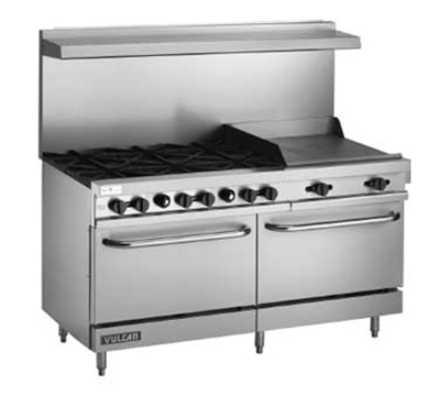 "Vulcan-Hart V60F 60"" 6-Burner Gas Range with Griddle, NG"