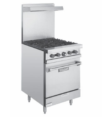 Vulcan-Hart V24 NG 24 in Value Series Restaurant Range, 4 Burners, Space Saver O