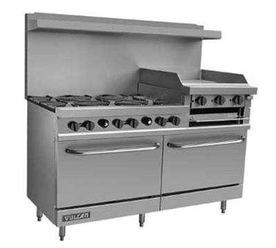 Vulcan-Hart V260 LP 60-in Value Range, 6-Burner, 24-in Griddle/Broiler, 2-Stand